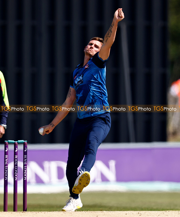 Harry Podmore bowls for Kent during Kent Spitfires vs Durham, Royal London One-Day Cup Cricket at The Spitfire Ground on 22nd July 2021