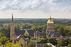 """September 17, 2016; Campus skyline on a Gameday Saturday with """"Go Irish"""" sign on Carroll Hall. (Photo by Peter Ringenberg/University of Notre Dame)"""
