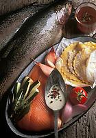 Gastronomie générale / Cuisine générale : Ingrédients  pour la  Tartelette de Truite au beurre acidulé
