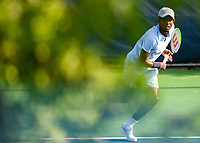 WASHINGTON, DC - AUGUST 1: Elias Ymer (SWE) serves to anticipates a backhand against J.J. Wolf (USA) during Qualifying at the 2021 Citi Open at Rock Creek Park Tennis Center on August 1, 2021 in Washington, DC.