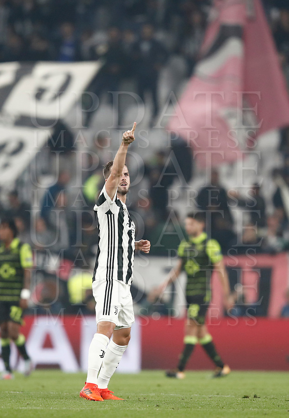 Football Soccer: UEFA Champions League Juventus vs Sporting Clube de Portugal, Allianz Stadium. Turin, Italy, October 18, 2017. <br /> Juventus' Miralem Pjanic celebrates after scoring during the Uefa Champions League football soccer match between Juventus and Sporting Clube de Portugal at Allianz Stadium in Turin, October 18, 2017.<br /> UPDATE IMAGES PRESS/Isabella Bonotto