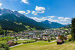Italy, South Tyrol (Trentino - Alto Adige), San Candido: town at High Puster Valley (Alta Pusteria - Hochpustertal) with Haunold mountains of the Sexten Dolomites | Italien, Suedtirol, Innichen: Stadt im Hochpustertals vor der Haunold-Gruppe der Sextener Dolomiten