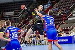 Elmar Asgeirsson (TVB Stuttgart #4) ; Romas Kirveliavicius (HBW Balingen #5) ;  BGV Handball Cup 2020 Halbfinaltag: TVB Stuttgart vs. HBW Balingen-Weilstetten am 11.09.2020 in Ludwigsburg (MHPArena), Baden-Wuerttemberg, Deutschland<br /> <br /> Foto © PIX-Sportfotos *** Foto ist honorarpflichtig! *** Auf Anfrage in hoeherer Qualitaet/Aufloesung. Belegexemplar erbeten. Veroeffentlichung ausschliesslich fuer journalistisch-publizistische Zwecke. For editorial use only.