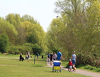General views of People and other 'local residents' out and about during the Coronavirus Outbreak lock down, Priory Country park, Bedford on April11th 2020<br /> <br /> Photo by Keith Mayhew