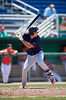 State College Spikes catcher Joe Gomez (25) at bat during a game against the Batavia Muckdogs on July 8, 2018 at Dwyer Stadium in Batavia, New York.  Batavia defeated State College 8-3.  (Mike Janes/Four Seam Images)
