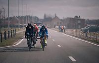 breakaway group through the smoke<br /> <br /> Driedaagse Brugge-De Panne 2018<br /> Bruges - De Panne (202km)