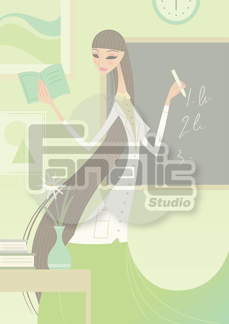 Female school teacher writing on the blackboard