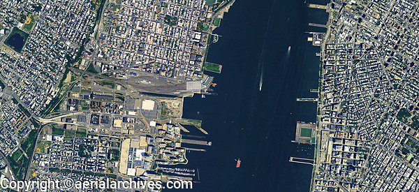 aerial photo map of Newport, Jersey City and Hoboken, New Jersey and Manhattan, New York and the Hudson River
