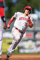 Auburn Doubledays catcher Tres Barrera (15) running the bases during a game against the Batavia Muckdogs on September 5, 2016 at Dwyer Stadium in Batavia, New York.  Batavia defeated Auburn 4-3. (Mike Janes/Four Seam Images)