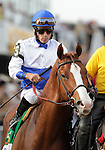 Shackleford, Jesus Lopez Castanon up, takes part in the post parade before the136th running of the Preakness Stakes at Pimlico Race Course, May 21, 2011. (Joan Fairman Kanes/Eclipsesportswire)