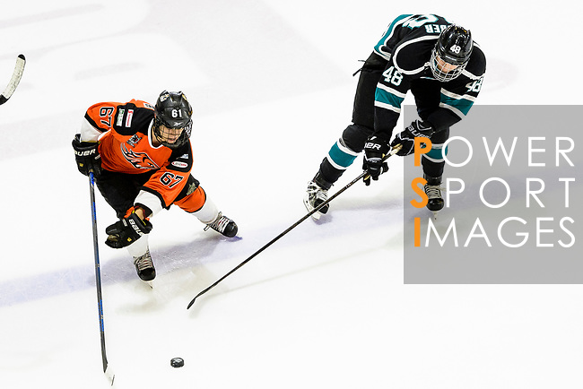 Lucas Eshleman of HK Tigers (L) battle for position against Charlie Huber of Cathay Flyers (R) during the Mega Ice Hockey 5s match between Cathay Flyers and HK Tigers on May 04, 2018 in Hong Kong, Hong Kong. Photo by Marcio Rodrigo Machado / Power Sport Images