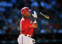 Apr. 27, 2011; Phoenix, AZ, USA; Arizona Diamondbacks outfielder Justin Upton throws his bat after striking out against the Philadelphia Phillies at Chase Field. Mandatory Credit: Mark J. Rebilas-