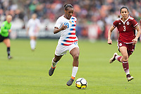 Houston, TX - Sunday April 08, 2018: Crystall Dunn during an International Friendly soccer match between the USWNT and Mexico at BBVA Compass Stadium.