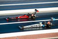 Nov 1, 2020; Las Vegas, Nevada, USA; NHRA top fuel driver Justin Ashley (near) alongside Steve Torrence during the NHRA Finals at The Strip at Las Vegas Motor Speedway. Mandatory Credit: Mark J. Rebilas-USA TODAY Sports