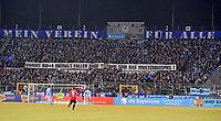 """06.03.2018, Football Regionalliga Bayern 2017/2018, TSV 1860 Muenchen - TSV Buchbach, Gruenwalder-stadium Muenchen. """"Warum 50 + 1 niemals fn darf? Wir sind das Musterbeispiel!"""" Plakat Loewenfans. *** Local Caption *** © pixathlon<br /> <br /> Contact: +49-40-22 63 02 60 , info@pixathlon.de"""