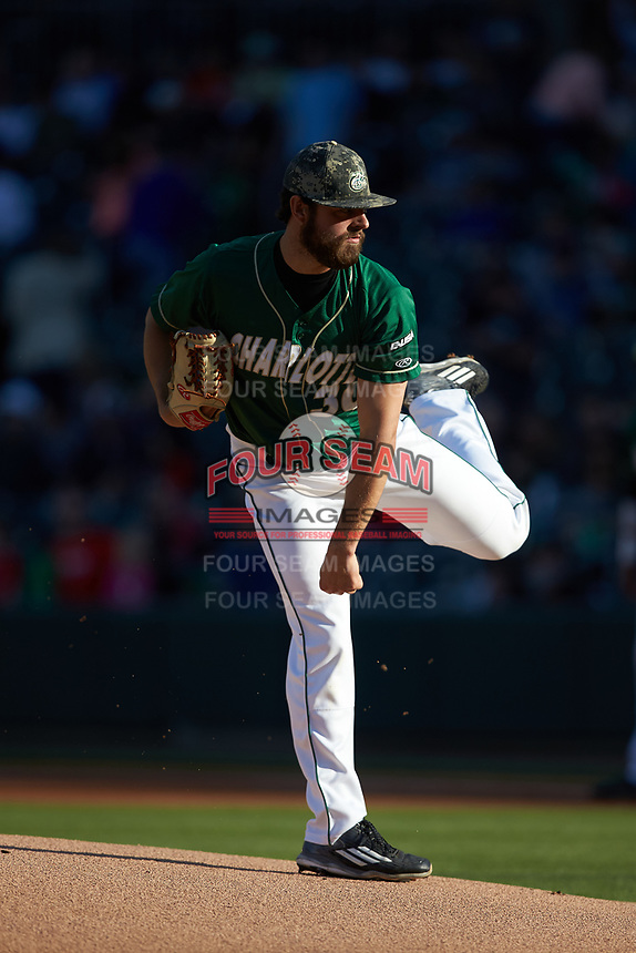 Charlotte 49ers starting pitcher J.D. Prochaska (30) follows through on his delivery against the North Carolina State Wolfpack at BB&T Ballpark on March 29, 2016 in Charlotte, North Carolina. The Wolfpack defeated the 49ers 7-1.  (Brian Westerholt/Four Seam Images)