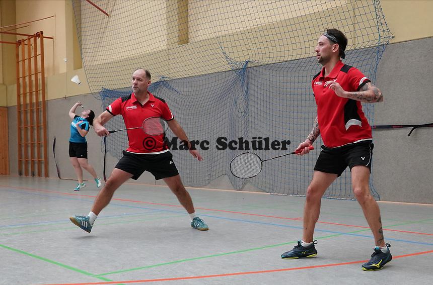 Doppel 3. Mannschaft Steffen Aumann, Steffen Schöneberger (vorn) - Mörfelden-Walldorf 09.02.2020: RW Walldorf Badminton