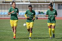 20190306 - PARALIMNI , CYPRUS : South African midfielder Leandra Smeda (left), South African defender Nothando Vilakazi (middle) , South African forward Jermaine Seoposenwe (right) pictured during a women's soccer game between Finland and South Africa , on Wednesday 6 March 2019 at the Tassos Markou Stadium in Paralimni , Cyprus.  This last game for both teams which decides for places 9 and 10 of the Cyprus Womens Cup 2019 , a prestigious women soccer tournament as a preparation on the Uefa Women's Euro 2021 qualification duels.PHOTO SPORTPIX.BE | STIJN AUDOOREN