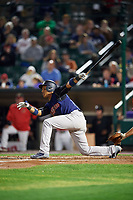New York Yankees second baseman Starlin Castro (14), on a rehab assignment with the Scranton/Wilkes-Barre RailRiders, hits a single in the top of the ninth inning during the first game of a doubleheader against the Rochester Red Wings on August 23, 2017 at Frontier Field in Rochester, New York.  Rochester defeated Scranton 5-4 in a game that was originally started on August 22nd but was postponed due to inclement weather.  (Mike Janes/Four Seam Images)