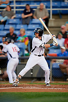 Binghamton Rumble Ponies second baseman Jeff McNeil (1) at bat during a game against the Erie SeaWolves on May 14, 2018 at NYSEG Stadium in Binghamton, New York.  Binghamton defeated Erie 6-5.  (Mike Janes/Four Seam Images)