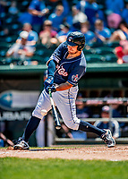 18 July 2018: New Hampshire Fisher Cats outfielder Connor Panas connects for a single in the 6th inning against the Trenton Thunder at Northeast Delta Dental Stadium in Manchester, NH. The Thunder defeated the Fisher Cats 3-2 concluding a previous game started April 29. Mandatory Credit: Ed Wolfstein Photo *** RAW (NEF) Image File Available ***
