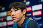 Korea Republic head coach Shin Taeyong attends a press conference prior to their 2018 FIFA World Cup Russia Final Qualification Round Group A match against IR Iran on 30 August 2017, at Paju National Football Center, in Paju, Korea Republic. Photo by Victor Fraile / Power Sport Images