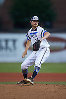 Martinsville Mustangs pitcher Kevin Heinrich (11) (Arkansas) in action against the Old North State League East All-Stars at Hooker Field on July 11, 2020 in Martinsville, VA. The Mustangs defeated the Old North State League East All-Stars 14-6. (Brian Westerholt/Four Seam Images)