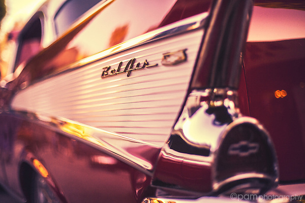 Tail light of classic Bel Air car.
