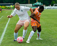 St Louis Athletica forward Christie Welsh (23) and Sky Blue FC defender Anita Asante (5) battle for the ball during a WPS match at Anheuser-Busch Soccer Park, in St. Louis, MO, June 7, 2009. Athletica won the match 1-0.