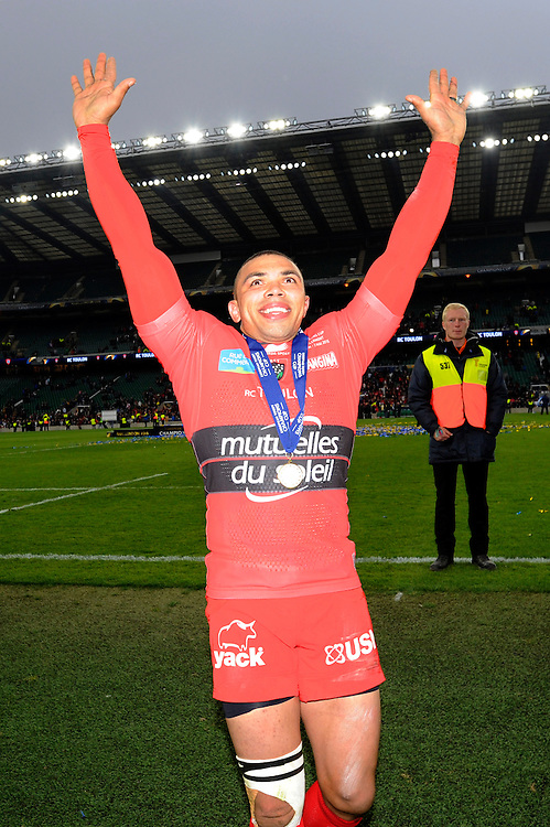 Bryan Habana of RC Toulon enjoys the moment with fans after winning the European Rugby Champions Cup Final