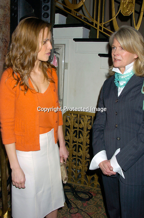 Hilary Swank and Candice Bergen ..at the New York Women in Communications 2004 Matrix ..Awards Luncheon on April 19, 2004 at the Waldorf Astoria ..Hotel. Photo by Robin Platzer, Twin Images