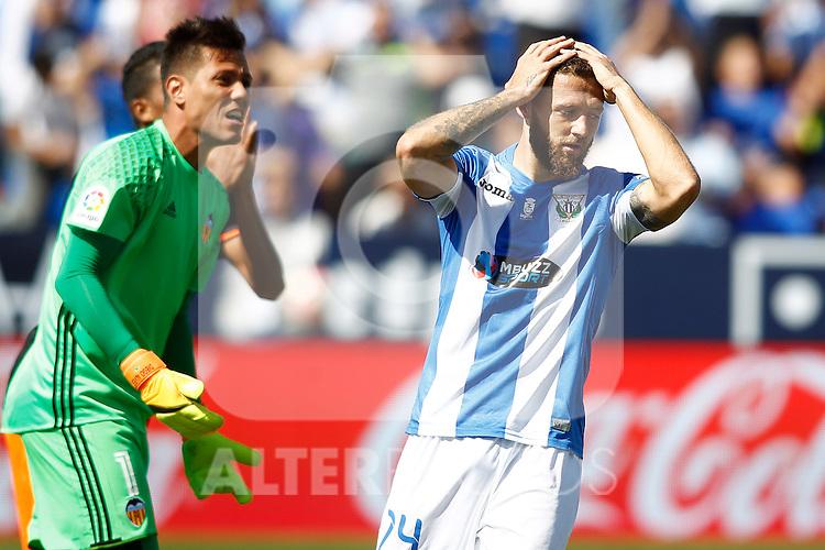 CD Leganes' David Timor (r) dejected in presence of Valencia CF's Diego Alves during La Liga match. September 25,2016. (ALTERPHOTOS/Acero)