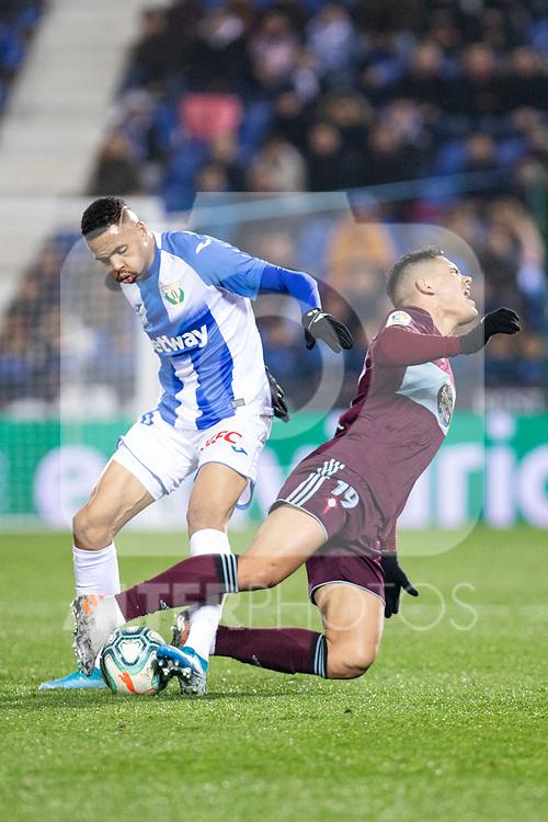 CD Leganes's  Youssef En-Nesyri (L) and RC Celta de Vigo's Gabriel Fernandez during La Liga match 2019/2020 round 16<br /> December 8, 2019.  <br /> (ALTERPHOTOS/David Jar)