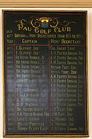 France, Aquitaine, Pyrénées-Atlantiques, Béarn, Pau: Le Golf: Pau Golf Club - Liste des membres dans la la salle d'honneur //  France, Pyrenees Atlantiques, Bearn, Pau: Pau Golf Club - Membership List in the hall of honor
