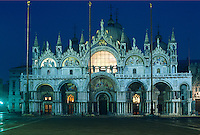 Italy, Venice, Basilica San Marco, Piazza San Marco illuminated at night