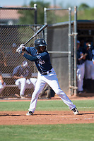San Diego Padres center fielder Angel Solarte (70) at bat during an Instructional League game against the Milwaukee Brewers at Peoria Sports Complex on September 21, 2018 in Peoria, Arizona. (Zachary Lucy/Four Seam Images)