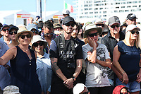 13th March 2021; Waitemata Harbour, Auckland, New Zealand;  Spectators watch the action from the America's Cup village at the viaduct, Emirates Team New Zealand v Luna Rossa Prada Pirelli. Day 3 of the America's Cup presented by Prada. Auckland, New Zealand,
