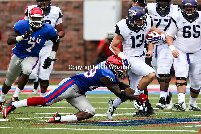TCU Horned Frogs wide receiver Ty Slanina (13) and Southern Methodist Mustangs defensive back Darrion Richardson (29) in action during the game between the TCU Horned Frogs and the SMU Mustangs at the Gerald J. Ford Stadium in Fort Worth, Texas.  TCU leads SMU 28 to 0 at half.