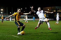Robbie Willmott of Newport County is challenged by Luke Conlan of Morecambe during the Sky Bet League Two match between Newport County and Morcambe at Rodney Parade, Newport, Wales, UK. 23 January 2018