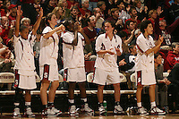 4 December 2005: Markisha Coleman, Morgan Clyburn, Eziamaka Okafor, Jillian Harmon and Cissy Pierce during Stanford's 74-67 loss to Tennessee at Maples Pavilion in Stanford, CA.