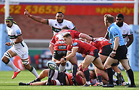 5th September 2020; Kingsholm Stadium, Gloucester, Gloucestershire, England; English Premiership Rugby, Gloucester versus London Irish; Stephen Varney of Gloucester passes from the base of the ruck