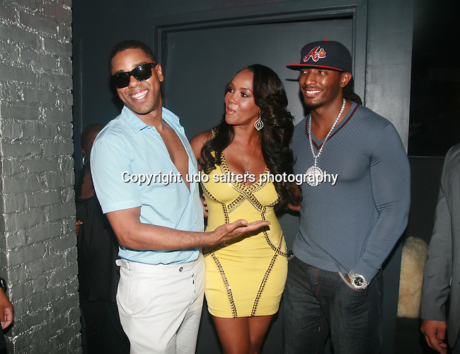 """BJ Coleman, Vivica A. Fox and Omar """"Slim"""" White Attend Vivica A. Fox Hosts Private Celebration for the 31st Birthday of Publicist BJ Coleman and the Launch of www.burgersandbourbon.com Sponsored by Pisco Portón,  at The Marcel Hotel's Polar Lounge, NY 8/25/11"""