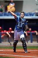 Charlotte Stone Crabs catcher Mac James (8) throws to first during a game against the Palm Beach Cardinals on April 10, 2016 at Charlotte Sports Park in Port Charlotte, Florida.  Palm Beach defeated Charlotte 4-1.  (Mike Janes/Four Seam Images)