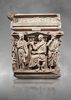 """End panel of a Roman relief sculpted Hercules sarcophagus with kline couch lid, """"Columned Sarcophagi of Asia Minor"""" style typical of Sidamara, 250-260 AD, Konya Archaeological Museum, Turkey."""