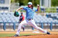 FCL Rays pitcher Brendan McKay (49), on rehab assignment from the Tampa Bay Rays, during a game against the FCL Twins on July 20, 2021 at Charlotte Sports Park in Port Charlotte, Florida.  (Mike Janes/Four Seam Images)