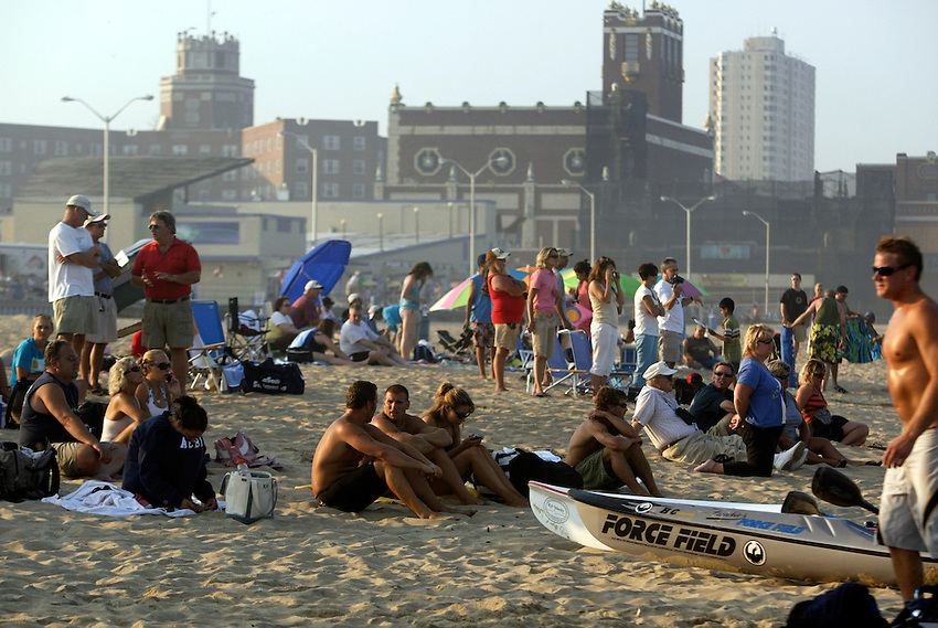 Big crowd on hand to watch the action at the First Annual Asbury Park Beach Bar Lifeguard Competition held at the 3rd Avenue beach in Asbury Park.  ASBURY PARK, NJ  8/4/07  8:21:47 PM  PHOTO BY ANDREW MILLS