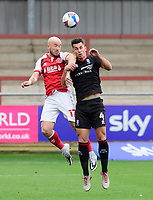 Lincoln City's Lewis Montsma battles with Fleetwood Town's Paddy Madden<br /> <br /> Photographer Chris Vaughan/CameraSport<br /> <br /> The EFL Sky Bet League One - Fleetwood Town v Lincoln City - Saturday 17th October 2020 - Highbury Stadium - Fleetwood<br /> <br /> World Copyright © 2020 CameraSport. All rights reserved. 43 Linden Ave. Countesthorpe. Leicester. England. LE8 5PG - Tel: +44 (0) 116 277 4147 - admin@camerasport.com - www.camerasport.com
