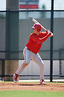 Philadelphia Phillies Rixon Wingrove (52) at bat during a Florida Instructional League game against the Atlanta Braves on October 5, 2018 at the Carpenter Complex in Clearwater, Florida.  (Mike Janes/Four Seam Images)