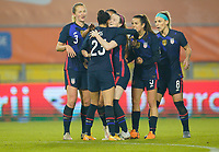 BREDA, NETHERLANDS - NOVEMBER 27: Rose Lavelle #16 of the United States celebrates her goal with teammates during a game between Netherlands and USWNT at Rat Verlegh Stadion on November 27, 2020 in Breda, Netherlands.