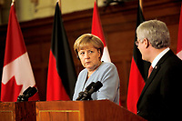 August 15 2012 - File Photo -<br /> German Chancellor Angela Merkell meeting Canadian Prime Minister Steven Harper at the House of Commons in Ottawa.<br /> <br /> Photo (c) Raffi Kirdi - Images Distribution